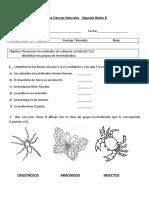 Prueba de Ciencias Naturales - Giovanna Asenjo - Segundo Básico B - Animales Invertebrados