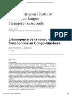L'Émergence de La Conscience Francophone Au Congo-Kinshasa