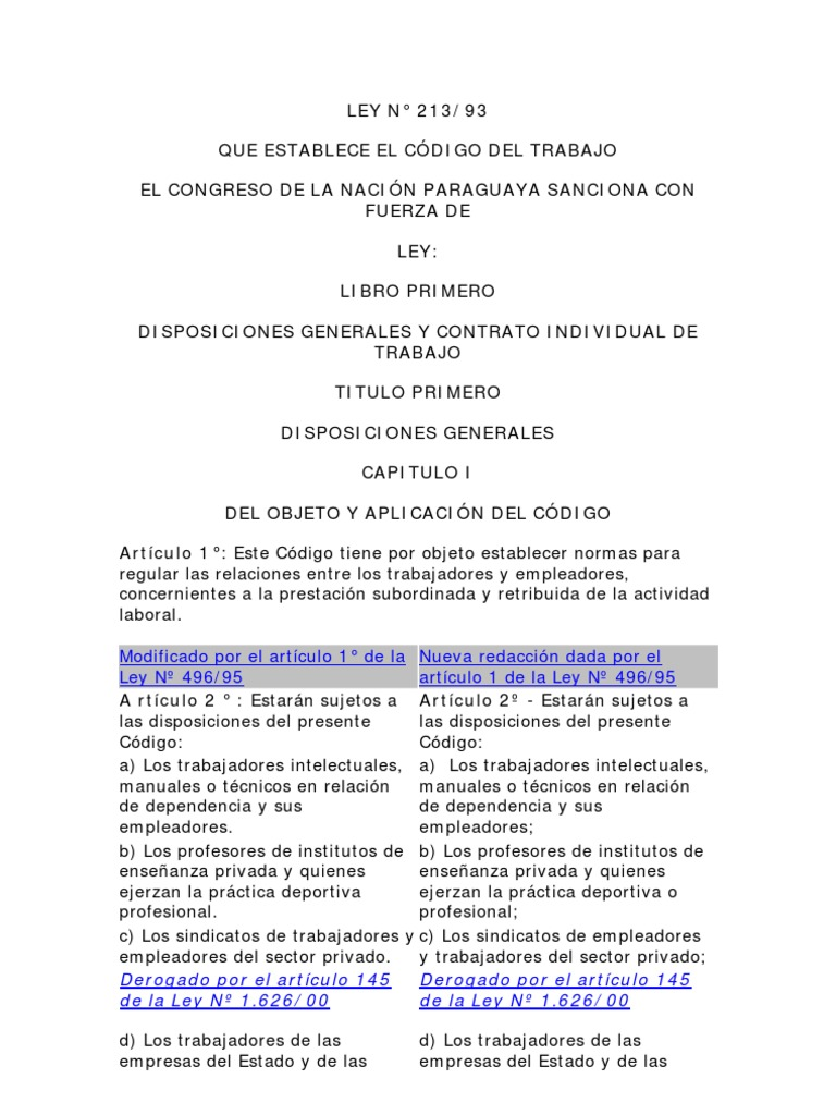 Codigo Laboral Paraguayo