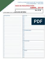 4 Abril Agenda Intenciones Capilla San Nicolas de Tolentino