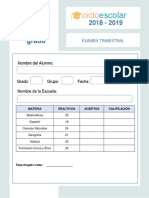 Examen Trimestral Quinto Grado MARZO2018-2019