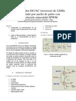 Convertidor DCAC Inversor de 220Hz Controlado Por Ancho de Pulso Con Modulación Sinusoidal SPWM