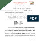 Acta de Recepcion y Entrega de Obra Tramo i - Tanta