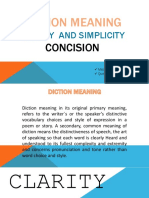 Diction Clarity Concision and Simplicity