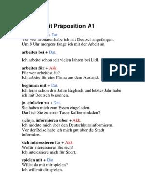 Verben Mit Präposition (A1 C2)