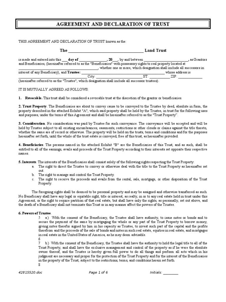 Land Trust Agreement Rev 1 Trust Law Mortgage Law