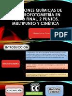 Reacciones Químicas de Espectrofotometría en Punto Final, dos puntosy  multipunto