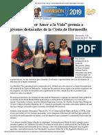 """07 - 03- 19 Asociación """"Por Amor a la Vida"""" premia a jóvenes destacados de la Costa de Hermosillo _ Canal Sonora"""