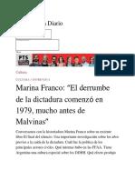 """Marina Franco_ """"El Derrumbe de La Dictadura Comenzó en 1979, Mucho Antes de Malvinas"""""""