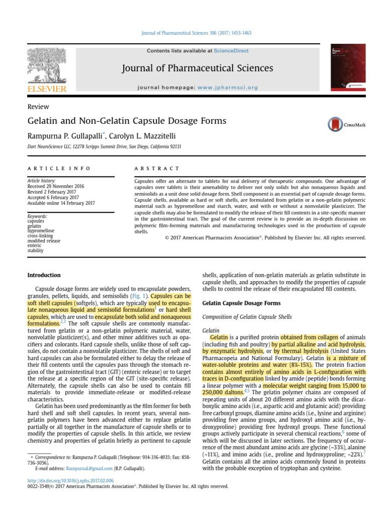 Gelatin and Non-Gelatin Capsule Dosage Forms | Gelatin | Collagen