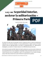 [2017 01 15-16] Ley de Seguridad Interior, Acelerar La Militarización (J. Villamil)