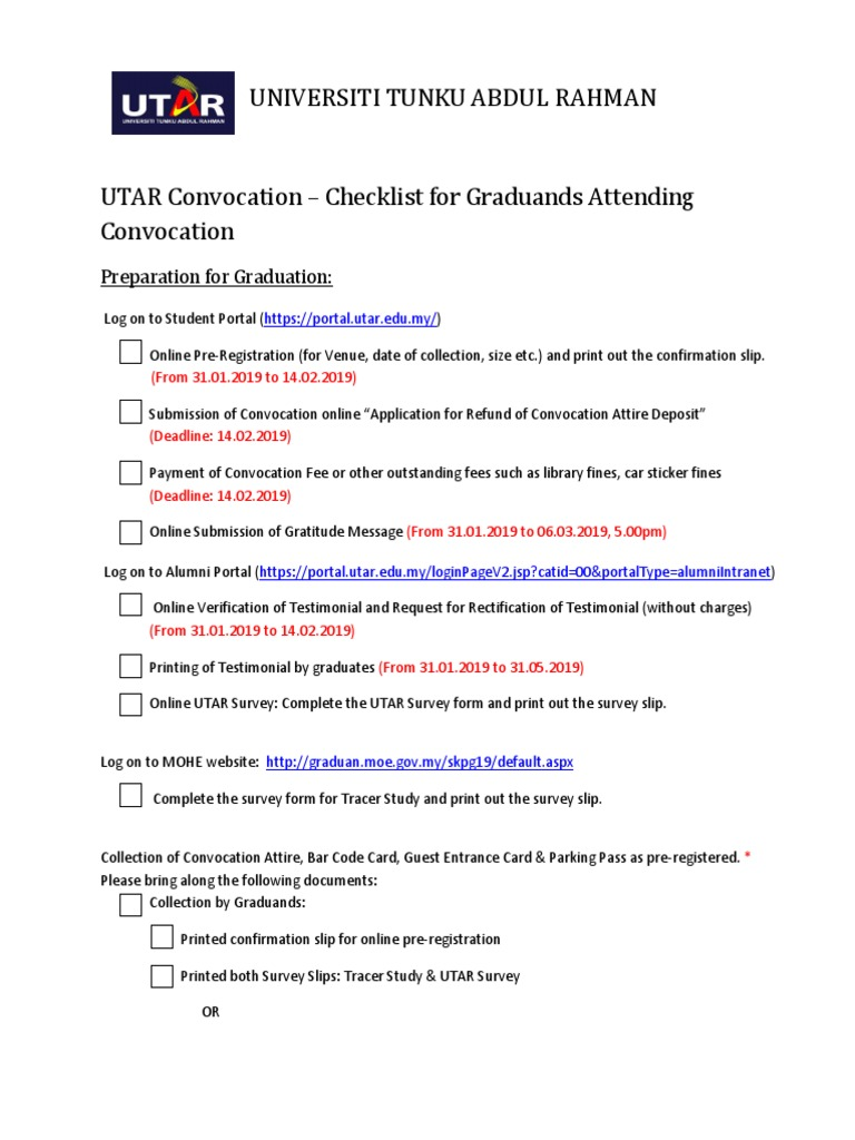 Utar Convocation Checklist For Graduands Attending Convocation March 2019 1 Dress Codes Consumer Goods