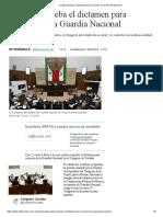 [2019 03 13] Yucatán Aprueba El Dictamen Para Creación de La Guardia Nacional (El Financiero)