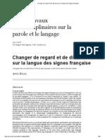 Changer de Regard Et de Discours Sur La Langue Des Signes Française