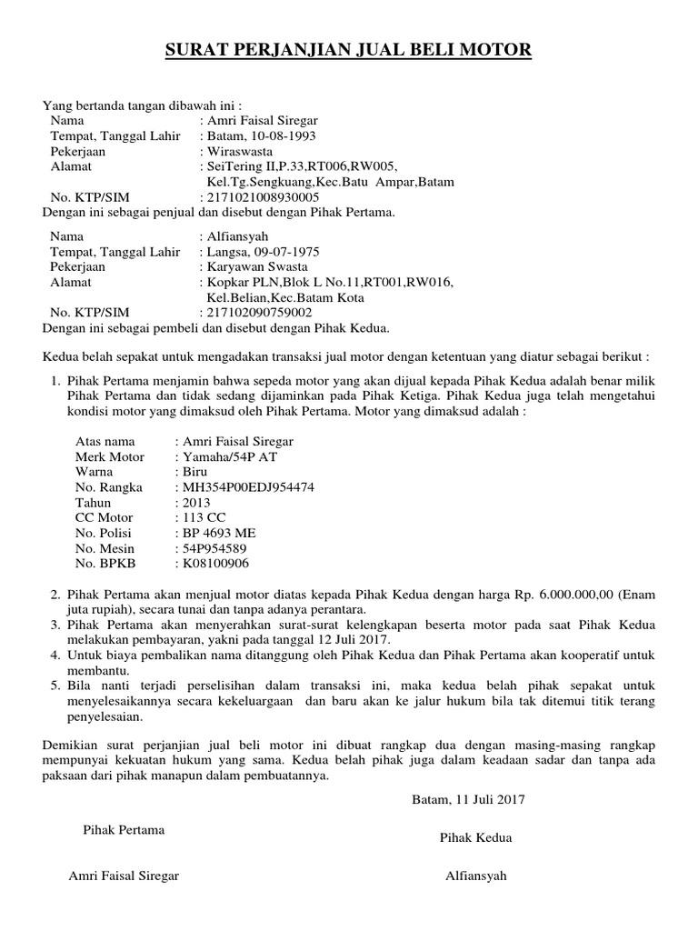 Contoh Surat Jual Beli Motor