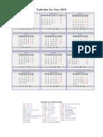 Calendar for Year 2019
