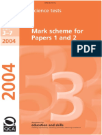 KS3 Science 2004 Mark Scheme