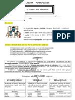 A Classe Dos Adjetivos - Ficha de Trabalho - 5º Ano