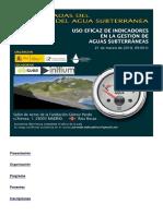 """Jornada """"Uso eficaz de indicadores en la gestión de aguas subterráneas"""""""