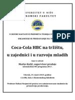 Coca Cola HBC Na Tržištu u Zajednici i u Razvoju Mladih