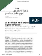 La Didactique de La Langue Des Signes Française