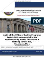 DOJ Audit of CPS Walking School Bus program