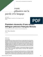 Premiers Énoncés d'Une Enfant Bilingue Précoce Français-finnois