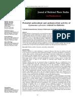 Gymnema Sylvestre-an anti oxidant and anti microbial
