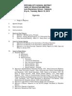 Watertown City School District Board of Education agenda March 19, 2019
