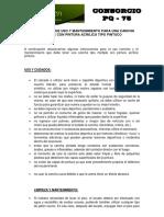 Manual de Uso y Mantenimiento CANCHA SINTETICA