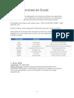 Tipos de Errores en Excel