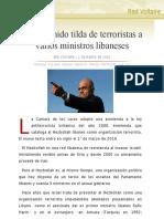 Reino Unido tilda de terroristas a varios ministros libaneses