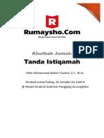 Khutbah Jumat Tanda Istiqamah Muhammad Abduh Tuasikal RumayshoCom