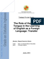 The Role of the Mother Tongue in the Learning of English as a Foreign Language