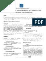 INTRODUCCION DE COMPUESTOS DE COORDINACION