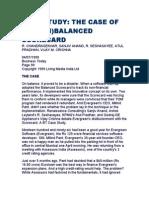 Case Study - The Case of the Un Balanced Scorecard