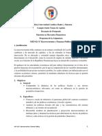Programa de La Asignatura Macroeconomía y Finanzas Públicas