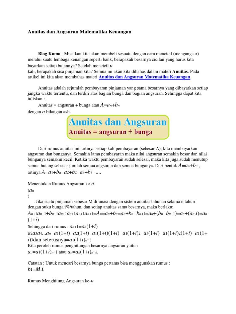Anuitas Dan Angsuran Matematika Keuangan Docx