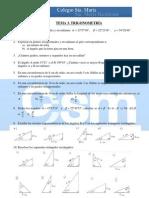 Ejercicios complementarios 4º Matemáticas - Tema 3 - Trigonometría