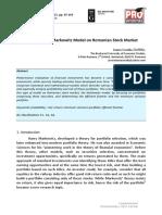 Application of Markowitz Model on Romanian Stock M