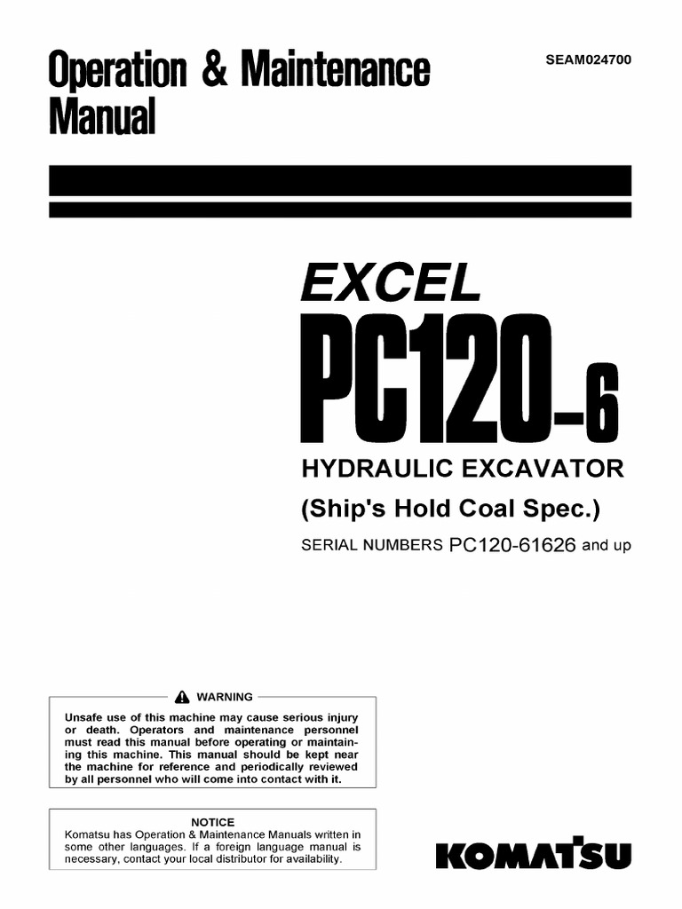 Pc120-6 Excel operation Manual