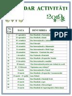 Calendar Activitati 2018 -2019