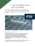 Telefónica Es La Empresa Con Más Litigios Con Sunat