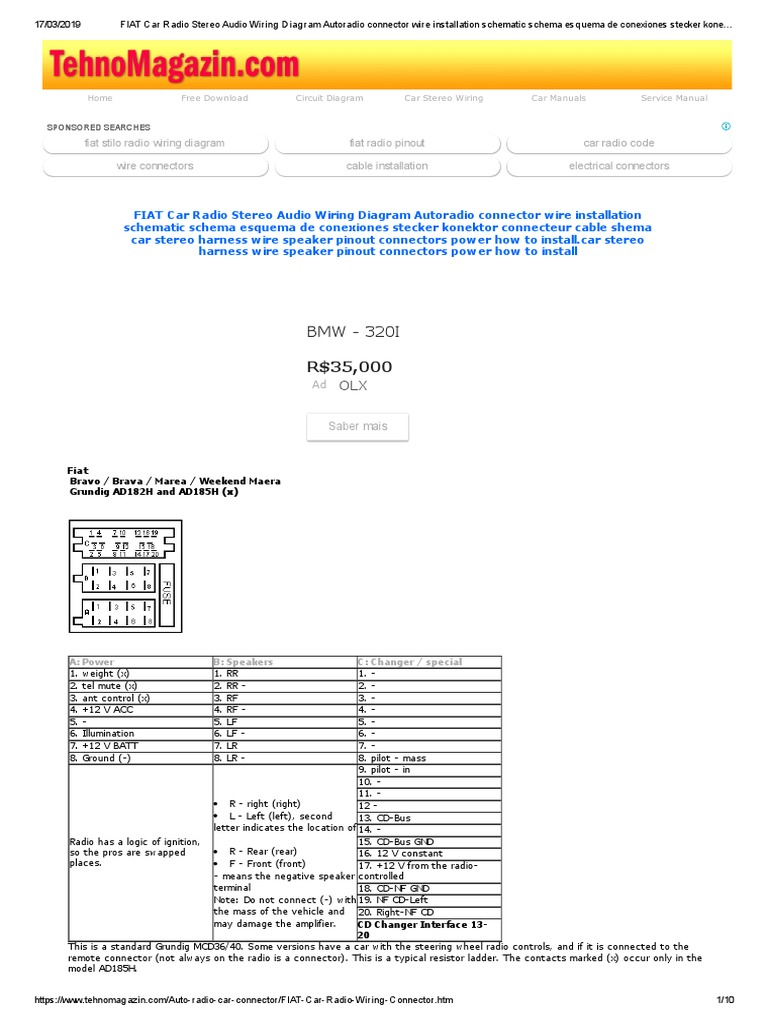 fiat car radio stereo audio wiring diagram autoradio connector wire  installation schematic schema esquema de conexiones stecker konektor  connecteur cable shema.pdf | electrical connector | electrical wiring  scribd
