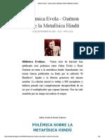 Polémica Evola - Guénon sobre la Metafísica Hindú | Biblioteca Evoliana