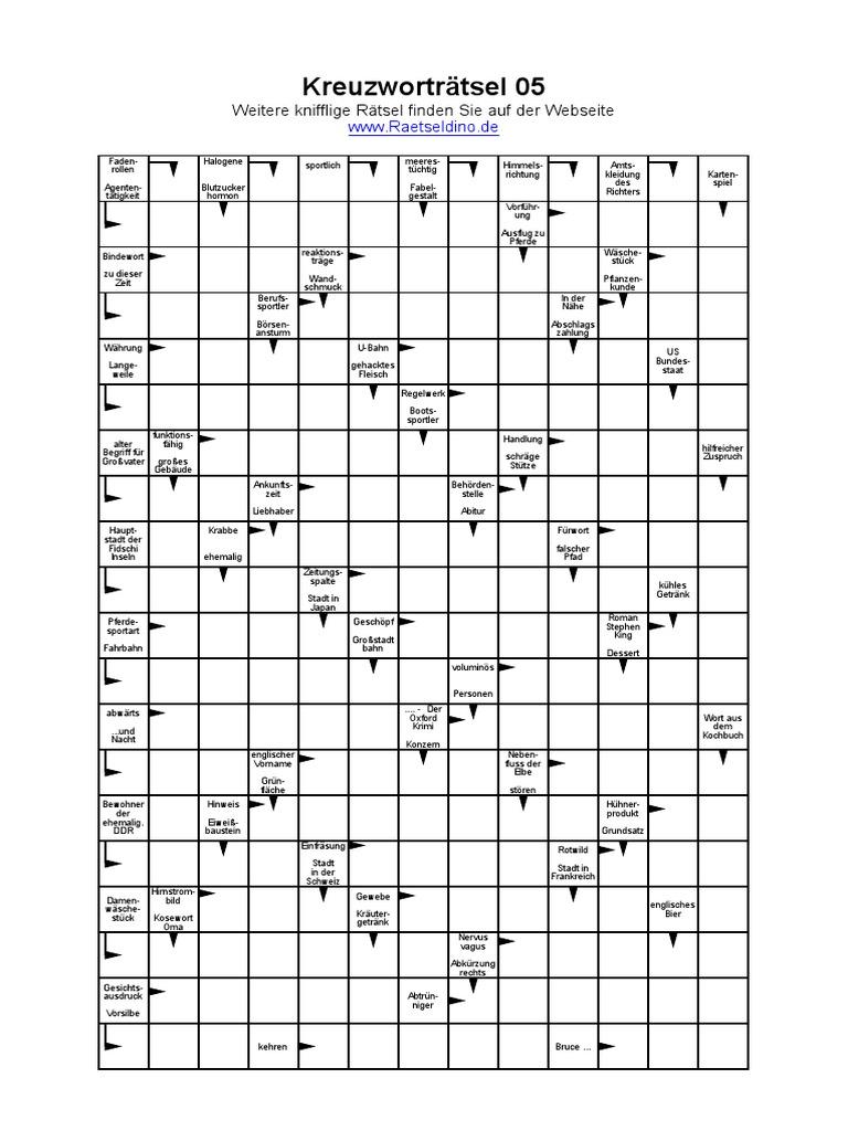 Nicht ändern Kreuzworträtsel