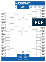 March Madness Printable Bracket Teams 2019