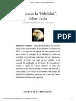 "Acerca de la ""Fidelidad"". Julius Evola | Biblioteca Evoliana"