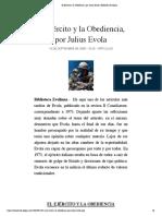 El Ejército y la Obediencia, por Julius Evola | Biblioteca Evoliana