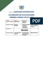 Calendario de Evaluaciones 2019